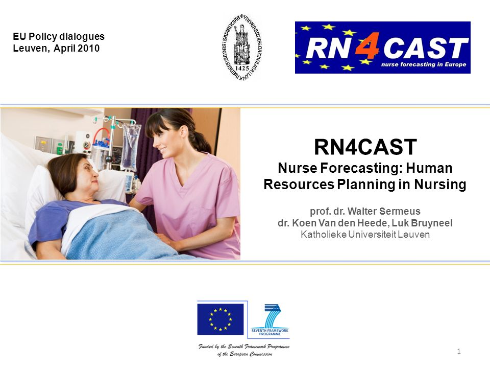EU Policy dialogues Leuven, April 2010 prof. dr. Walter Sermeus dr. Koen Van den Heede, Luk Bruyneel Katholieke Universiteit Leuven RN4CAST Nurse Fore