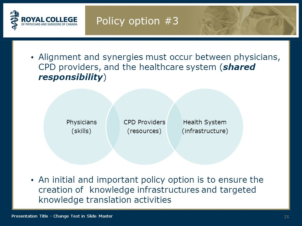 Presentation Title - Change Text in Slide Master Policy option #3 Alignment and synergies must occur between physicians, CPD providers, and the healthcare system (shared responsibility) An initial and important policy option is to ensure the creation of knowledge infrastructures and targeted knowledge translation activities 25 Physicians (skills) CPD Providers (resources) Health System (infrastructure)