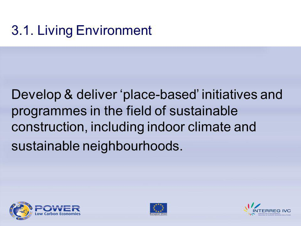 Develop & deliver place-based initiatives and programmes in the field of sustainable construction, including indoor climate and sustainable neighbourh