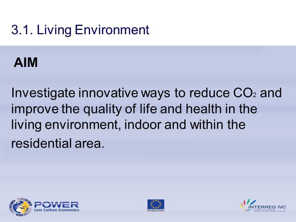 Investigate innovative ways to reduce CO 2 and improve the quality of life and health in the living environment, indoor and within the residential area.