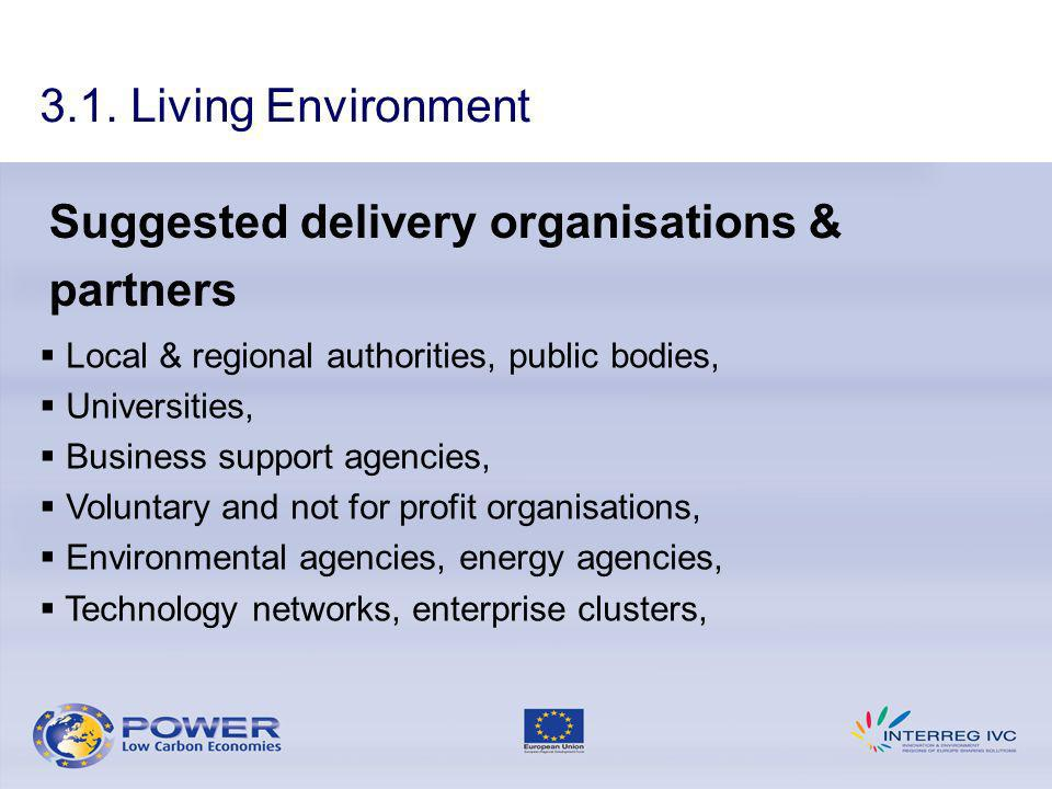 3.1. Living Environment Suggested delivery organisations & partners Local & regional authorities, public bodies, Universities, Business support agenci