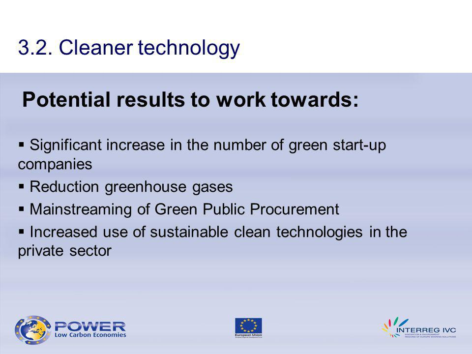 Potential results to work towards: Significant increase in the number of green start-up companies Reduction greenhouse gases Mainstreaming of Green Public Procurement Increased use of sustainable clean technologies in the private sector 3.2.