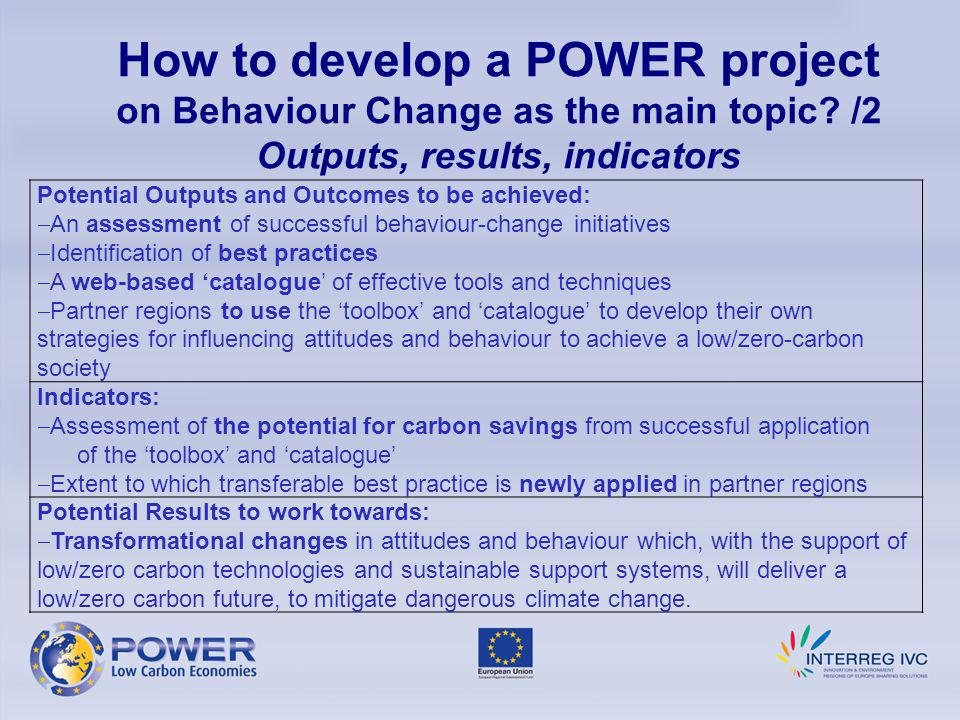 How to develop a POWER project on Behaviour Change as the main topic.