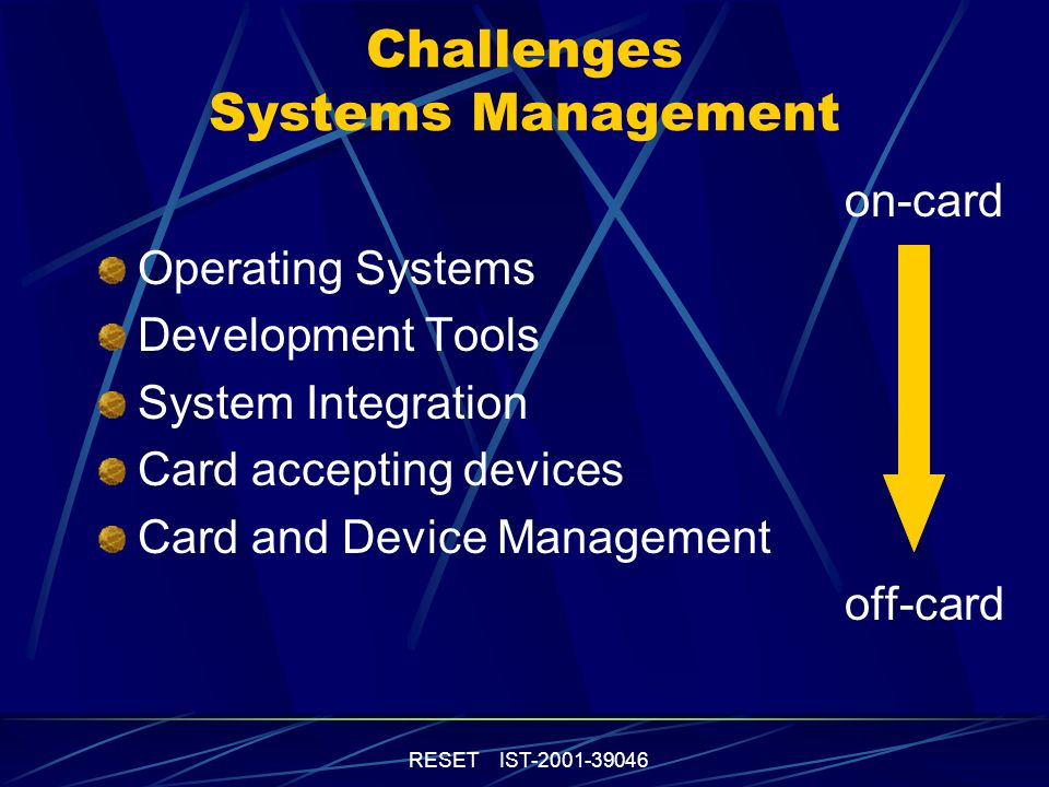 RESET IST-2001-39046 Challenges Systems Management on-card Operating Systems Development Tools System Integration Card accepting devices Card and Device Management off-card