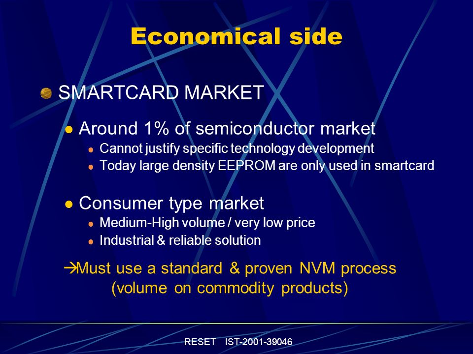 RESET IST-2001-39046 Economical side SMARTCARD MARKET Around 1% of semiconductor market Cannot justify specific technology development Today large density EEPROM are only used in smartcard Consumer type market Medium-High volume / very low price Industrial & reliable solution Must use a standard & proven NVM process (volume on commodity products)