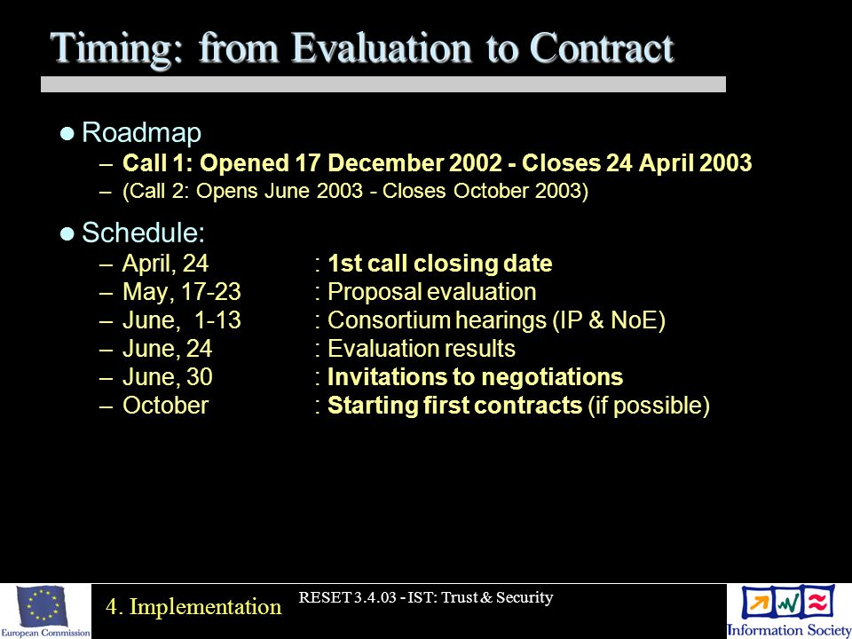 RESET 3.4.03 - IST: Trust & Security Timing: from Evaluation to Contract Roadmap –Call 1: Opened 17 December 2002 - Closes 24 April 2003 –(Call 2: Opens June 2003 - Closes October 2003) Schedule: –April, 24 : 1st call closing date –May, 17-23: Proposal evaluation –June, 1-13: Consortium hearings (IP & NoE) –June, 24 : Evaluation results –June, 30 : Invitations to negotiations –October: Starting first contracts (if possible) 4.