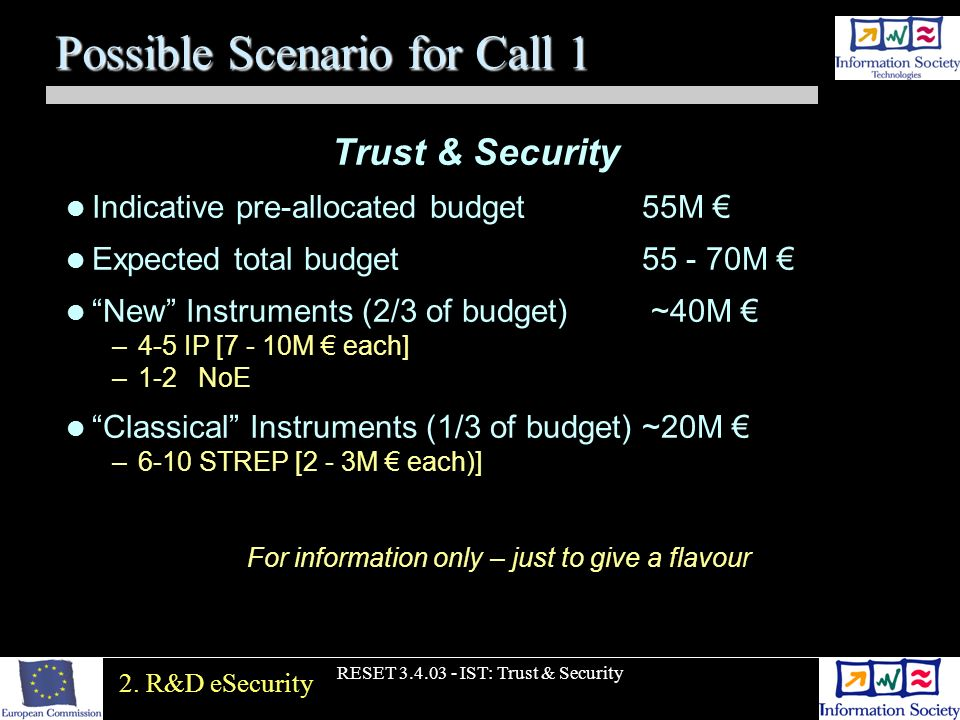 RESET 3.4.03 - IST: Trust & Security Possible Scenario for Call 1 Trust & Security Indicative pre-allocated budget55M Expected total budget 55 - 70M N