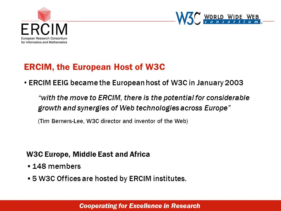 Cooperating for Excellence in Research ERCIM, the European Host of W3C ERCIM EEIG became the European host of W3C in January 2003 with the move to ERCIM, there is the potential for considerable growth and synergies of Web technologies across Europe (Tim Berners-Lee, W3C director and inventor of the Web) W3C Europe, Middle East and Africa 148 members 5 W3C Offices are hosted by ERCIM institutes.
