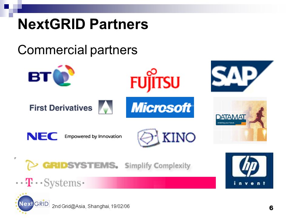6 2nd Shanghai, 19/02/06 NextGRID Partners Commercial partners