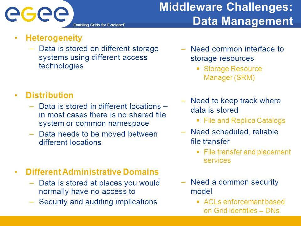Enabling Grids for E-sciencE Middleware Challenges: Data Management Heterogeneity –Data is stored on different storage systems using different access technologies Distribution –Data is stored in different locations – in most cases there is no shared file system or common namespace –Data needs to be moved between different locations Different Administrative Domains –Data is stored at places you would normally have no access to –Security and auditing implications –Need common interface to storage resources Storage Resource Manager (SRM) –Need to keep track where data is stored File and Replica Catalogs –Need scheduled, reliable file transfer File transfer and placement services –Need a common security model ACLs enforcement based on Grid identities – DNs