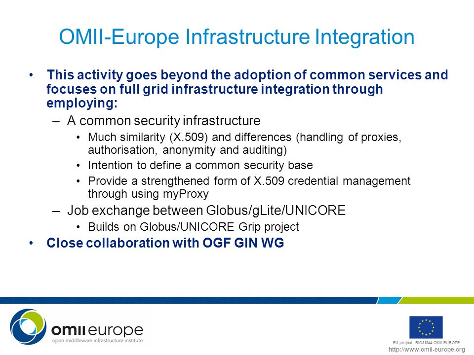 EU project: RIO31844-OMII-EUROPE http://www.omii-europe.org OMII-Europe Infrastructure Integration This activity goes beyond the adoption of common services and focuses on full grid infrastructure integration through employing: –A common security infrastructure Much similarity (X.509) and differences (handling of proxies, authorisation, anonymity and auditing) Intention to define a common security base Provide a strengthened form of X.509 credential management through using myProxy –Job exchange between Globus/gLite/UNICORE Builds on Globus/UNICORE Grip project Close collaboration with OGF GIN WG