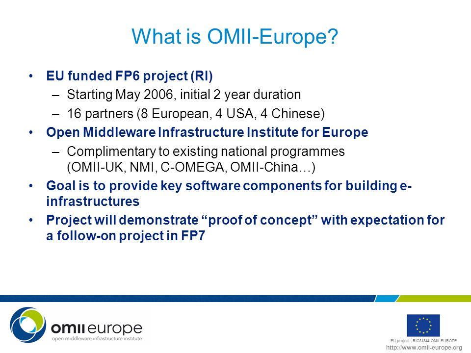 EU project: RIO31844-OMII-EUROPE http://www.omii-europe.org What is OMII-Europe? EU funded FP6 project (RI) –Starting May 2006, initial 2 year duratio