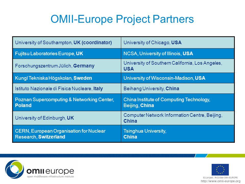 EU project: RIO31844-OMII-EUROPE http://www.omii-europe.org OMII-Europe Project Partners University of Southampton, UK (coordinator)University of Chic