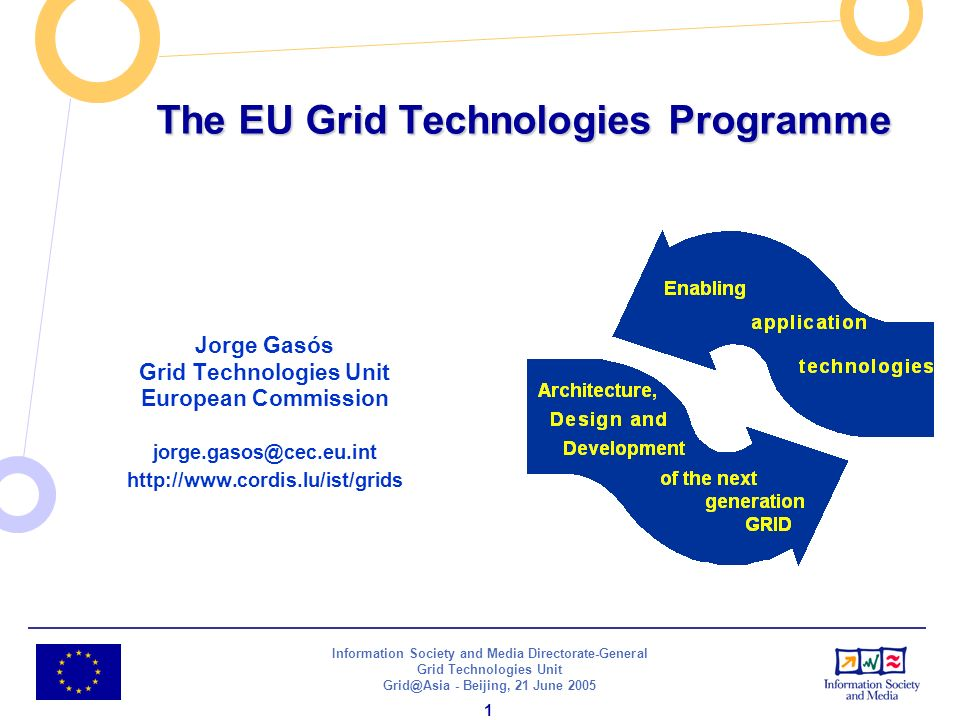 Information Society and Media Directorate-General Grid Technologies Unit - Beijing, 21 June The EU Grid Technologies Programme Jorge Gasós Grid Technologies Unit European Commission