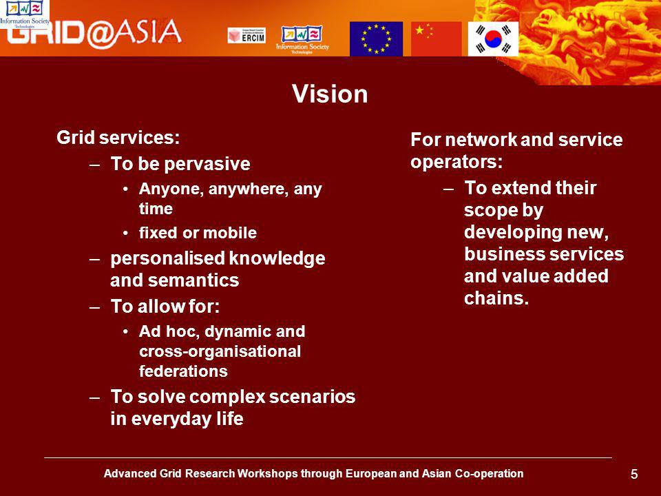 Advanced Grid Research Workshops through European and Asian Co-operation 5 Vision Grid services: –To be pervasive Anyone, anywhere, any time fixed or mobile –personalised knowledge and semantics –To allow for: Ad hoc, dynamic and cross-organisational federations –To solve complex scenarios in everyday life For network and service operators: –To extend their scope by developing new, business services and value added chains.