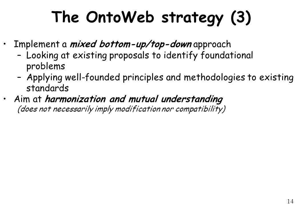 14 The OntoWeb strategy (3) Implement a mixed bottom-up/top-down approach –Looking at existing proposals to identify foundational problems –Applying well-founded principles and methodologies to existing standards Aim at harmonization and mutual understanding (does not necessarily imply modification nor compatibility)