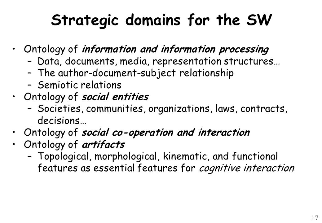 17 Strategic domains for the SW Ontology of information and information processing –Data, documents, media, representation structures… –The author-document-subject relationship –Semiotic relations Ontology of social entities –Societies, communities, organizations, laws, contracts, decisions… Ontology of social co-operation and interaction Ontology of artifacts –Topological, morphological, kinematic, and functional features as essential features for cognitive interaction