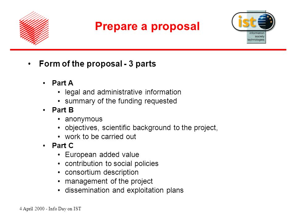 4 April 2000 - Info Day on IST Prepare a proposal Who can participate .