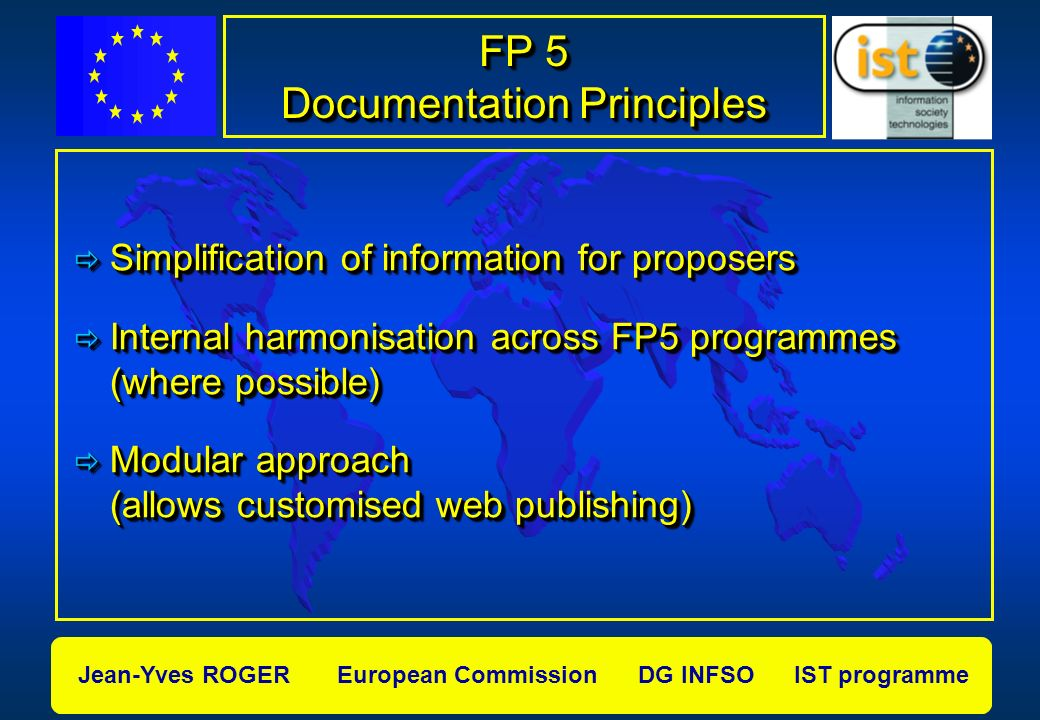 Jean-Yves ROGER European Commission DG INFSO IST programme Content of Information Package Workprogramme 2000 CALL Text OJ (exp: Feb, Jun, Sep 2000) CALL Text OJ (exp: Feb, Jun, Sep 2000) Evaluation Manual General FP 5 IST specific Annex Guide for Proposers Evaluators Guidelines
