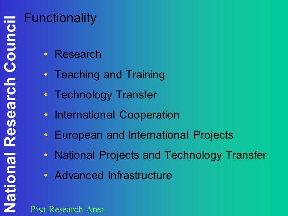 National Research Council Pisa Research Area Functionality Research Teaching and Training Technology Transfer International Cooperation European and International Projects National Projects and Technology Transfer Advanced Infrastructure