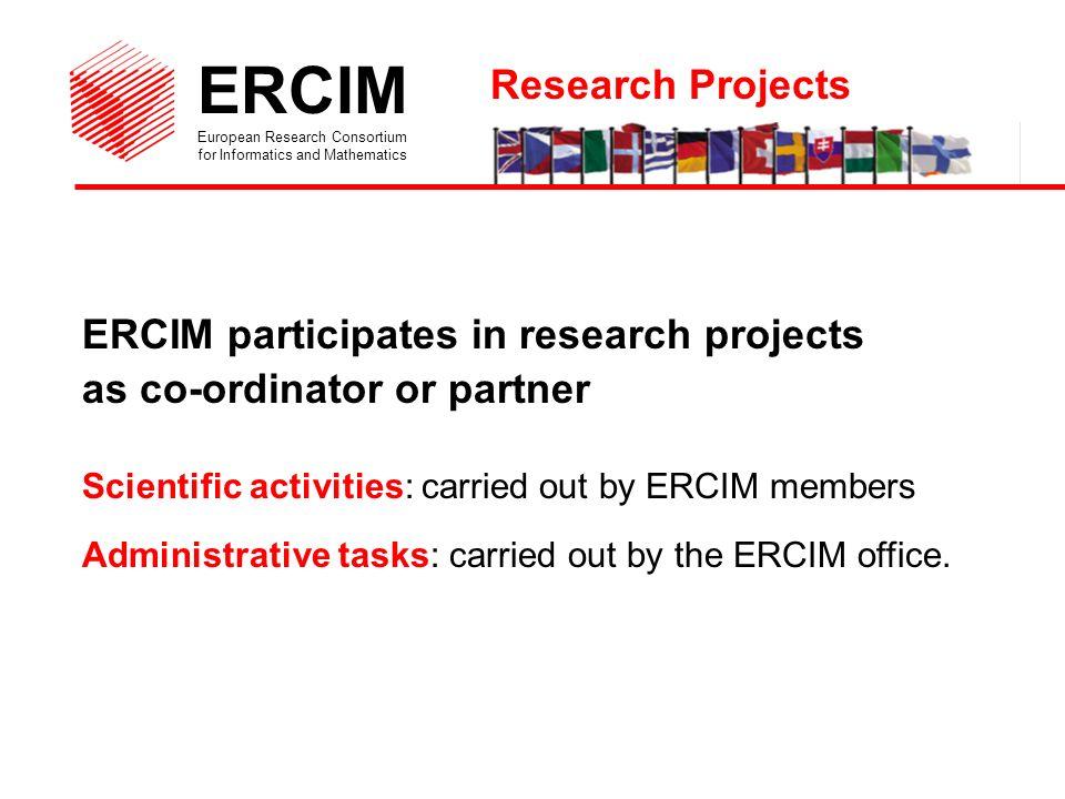 ERCIM European Research Consortium for Informatics and Mathematics Current projects Esimeau, Thetis, Simes, MtoM3D, Crucid, Decair, Infodev, Alcom, Quantum, DELOS Thematic network, Anfas, C-Web, EU-NSF co-operation Past projects Aquarelle, Discipl, EU-China HPCN Initiative...