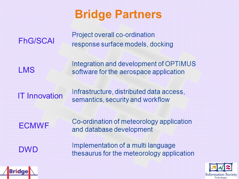 Bridge Partners Implementation of a multi language thesaurus for the meteorology application DWD Co-ordination of meteorology application and database