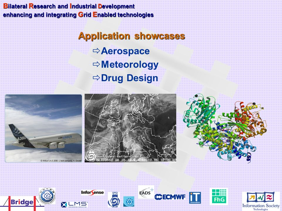 Application showcases Aerospace Meteorology Drug Design B ilateral R esearch and I ndustrial Development enhancing and integrating G rid E nabled tech