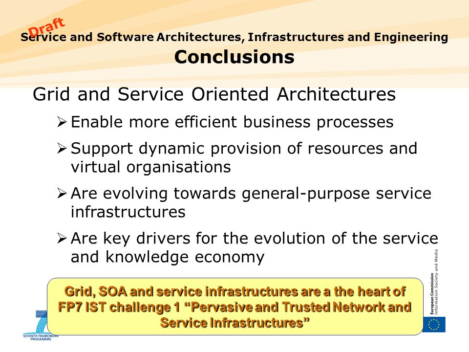 18 Service and Software Architectures, Infrastructures and Engineering Conclusions Grid and Service Oriented Architectures Enable more efficient busin