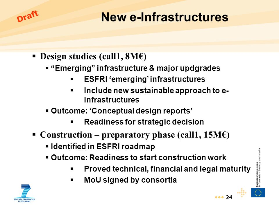 24 New e-Infrastructures Design studies (call1, 8M) Emerging infrastructure & major updgrades ESFRI emerging infrastructures Include new sustainable a