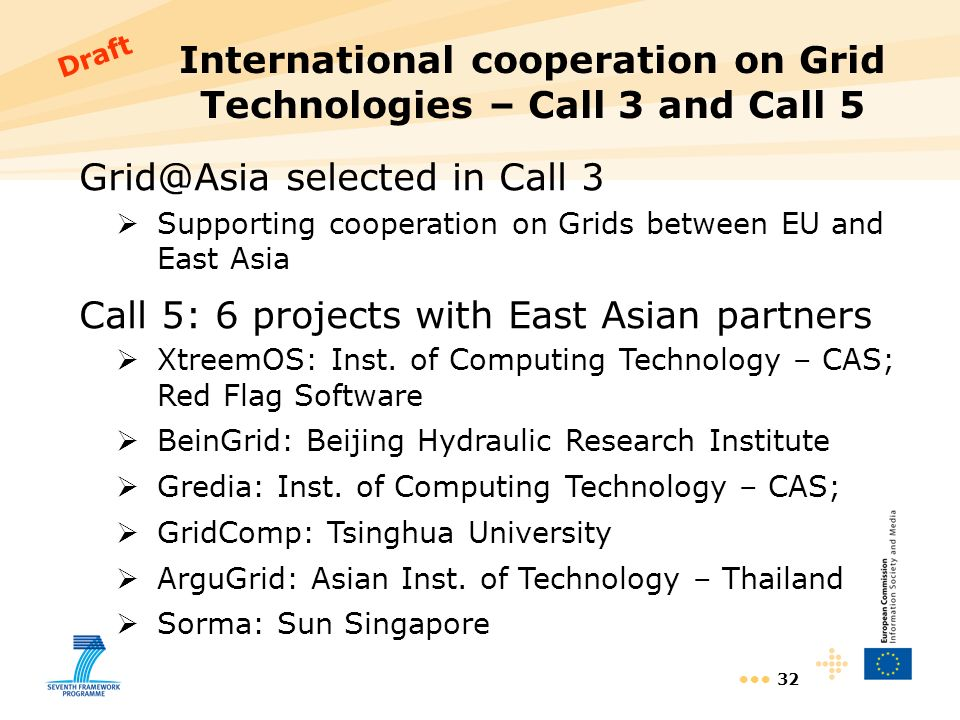 32 International cooperation on Grid Technologies – Call 3 and Call 5 Grid@Asia selected in Call 3 Supporting cooperation on Grids between EU and East