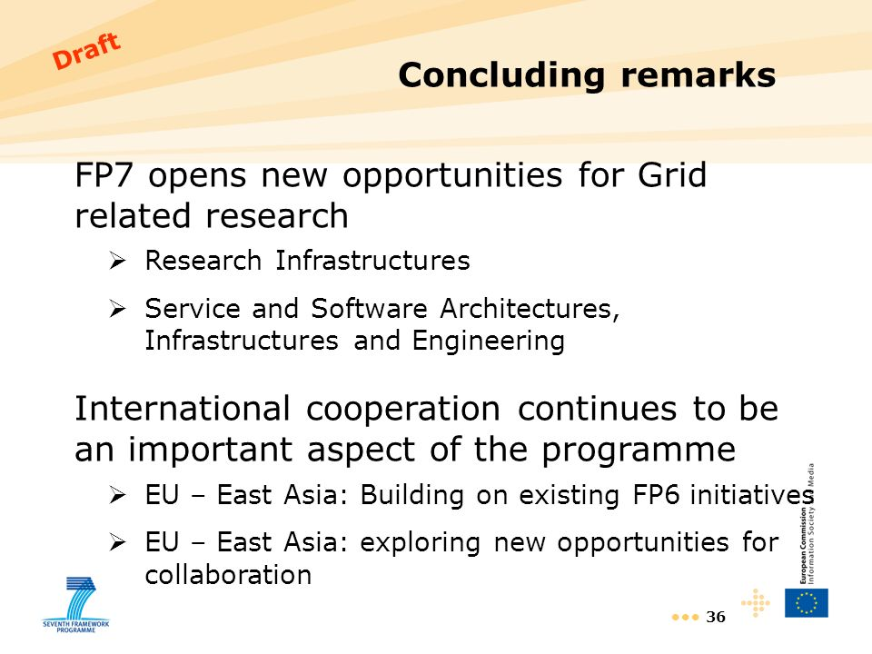 36 Concluding remarks FP7 opens new opportunities for Grid related research Research Infrastructures Service and Software Architectures, Infrastructures and Engineering International cooperation continues to be an important aspect of the programme EU – East Asia: Building on existing FP6 initiatives EU – East Asia: exploring new opportunities for collaboration Draft