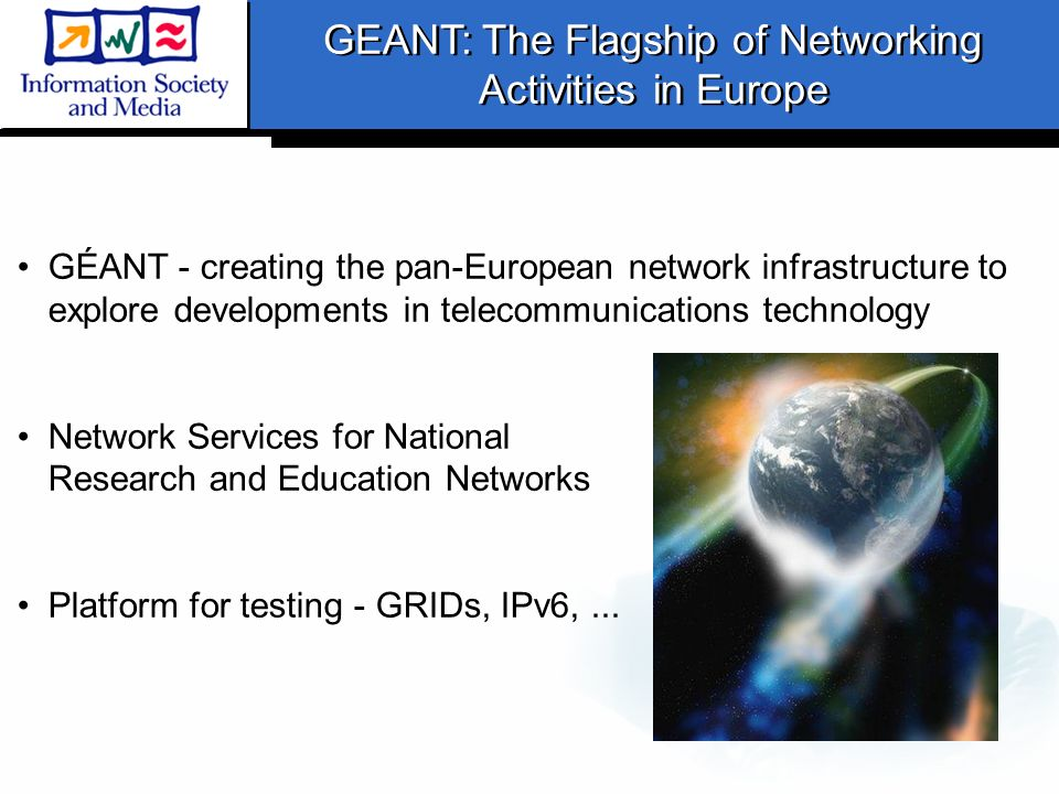 GÉANT - creating the pan-European network infrastructure to explore developments in telecommunications technology Network Services for National Resear