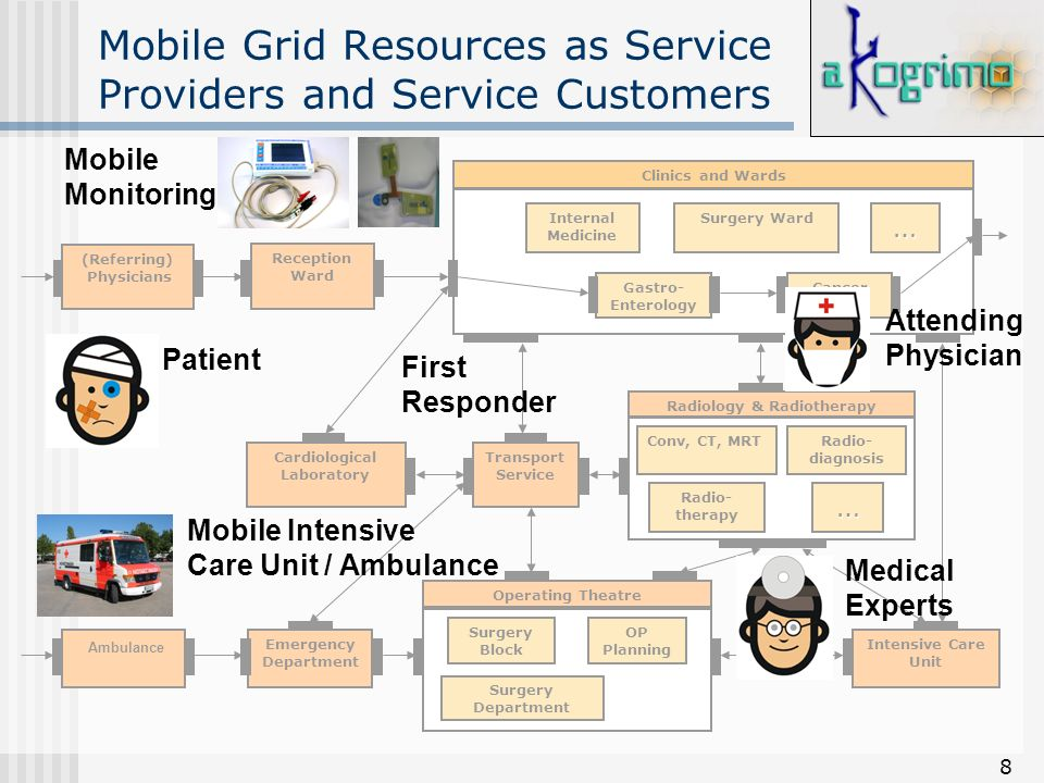 8 Mobile Grid Resources as Service Providers and Service Customers (Referring) Physicians Ambulance Reception Ward Clinics and Wards Gastro- Enterolog