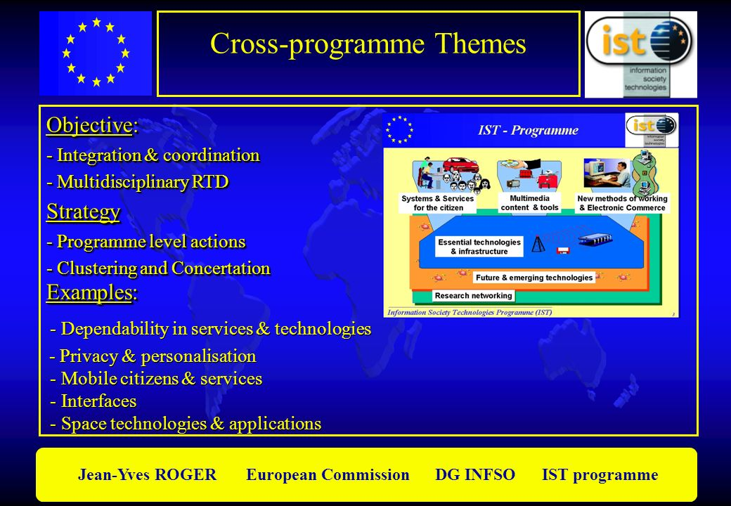 Jean-Yves ROGER European Commission DG INFSO IST programme Objective: - Integration & coordination - Multidisciplinary RTD Strategy - Programme level actions - Clustering and Concertation Objective: - Integration & coordination - Multidisciplinary RTD Strategy - Programme level actions - Clustering and Concertation Examples: Examples: - Dependability in services & technologies - Privacy & personalisation - Mobile citizens & services - Interfaces - Space technologies & applications Examples: Examples: - Dependability in services & technologies - Privacy & personalisation - Mobile citizens & services - Interfaces - Space technologies & applications Cross-programme Themes