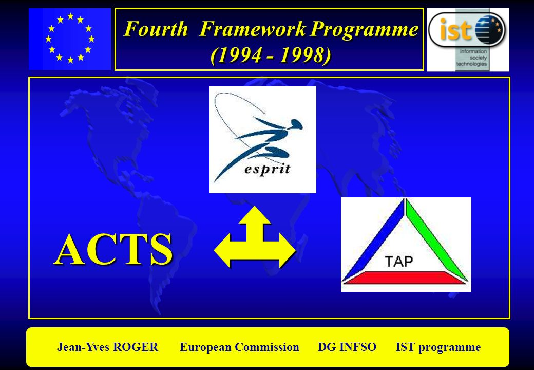 Jean-Yves ROGER European Commission DG INFSO IST programme Fourth Framework Programme (1994 - 1998) Fourth Framework Programme (1994 - 1998) ACTS