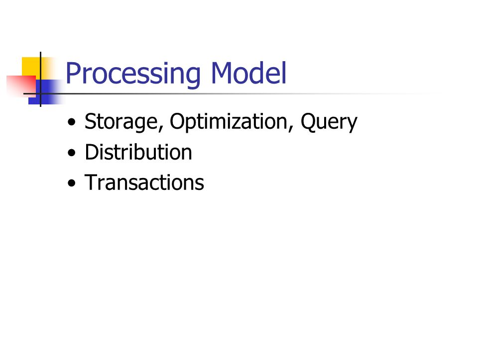 Processing Model Storage, Optimization, Query Distribution Transactions