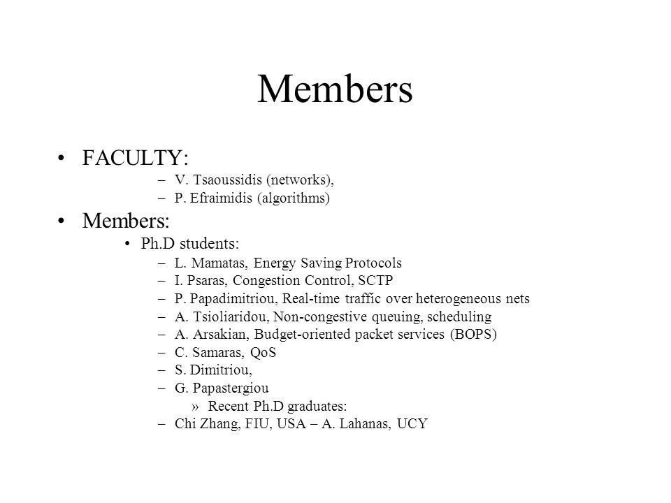 Members FACULTY: –V.Tsaoussidis (networks), –P.