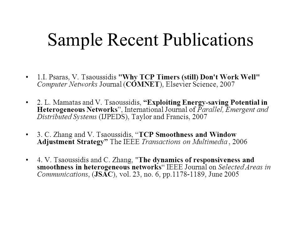 Sample Recent Publications 1.I.Psaras, V.