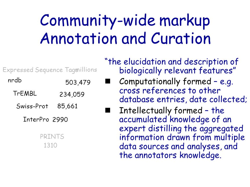 Community-wide markup Annotation and Curation the elucidation and description of biologically relevant features Computationally formed – e.g. cross re