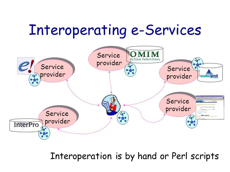 Interoperating e-Services Service provider Service provider Service provider Service provider Service provider Service provider Service provider Servi