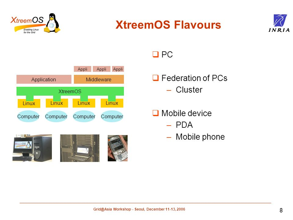 Workshop - Seoul, December 11-13, Linux Computer XtreemOS ApplicationMiddleware Appli XtreemOS Flavours PC Federation of PCs –Cluster Mobile device –PDA –Mobile phone