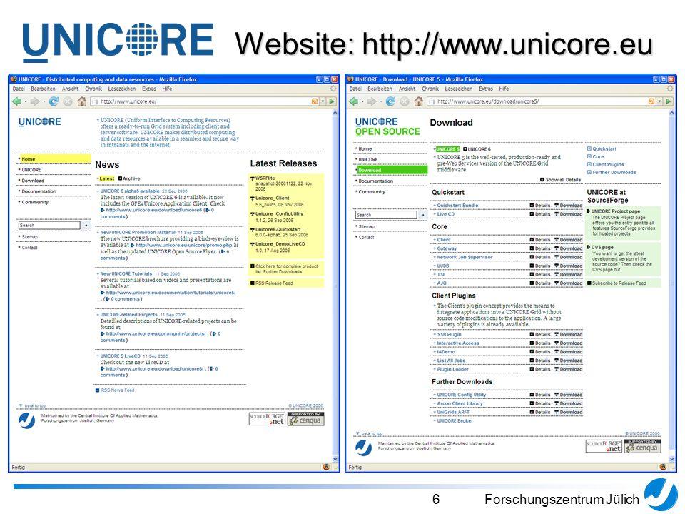 6Forschungszentrum Jülich Website: http://www.unicore.eu