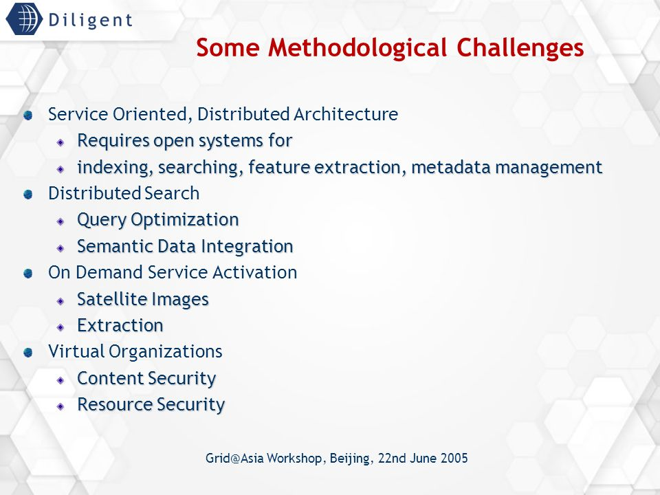 Grid@Asia Workshop, Beijing, 22nd June 2005 Some Methodological Challenges Service Oriented, Distributed Architecture Requires open systems for indexing, searching, feature extraction, metadata management Distributed Search Query Optimization Semantic Data Integration On Demand Service Activation Satellite Images Extraction Virtual Organizations Content Security Resource Security