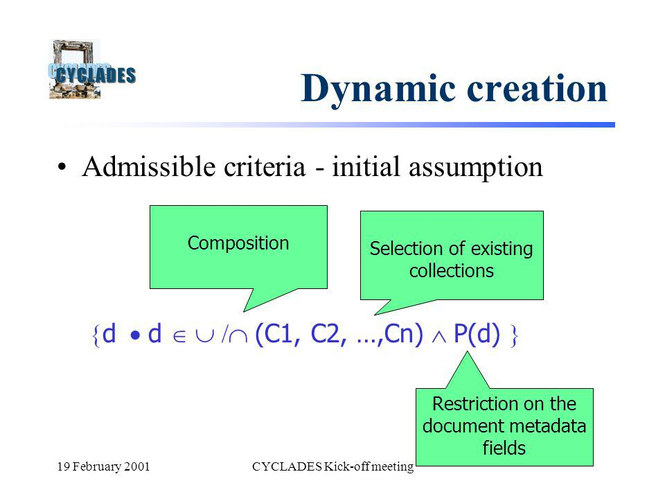 19 February 2001CYCLADES Kick-off meeting Dynamic creation Admissible criteria - initial assumption d d / (C1, C2, …,Cn) P(d) Composition Selection of