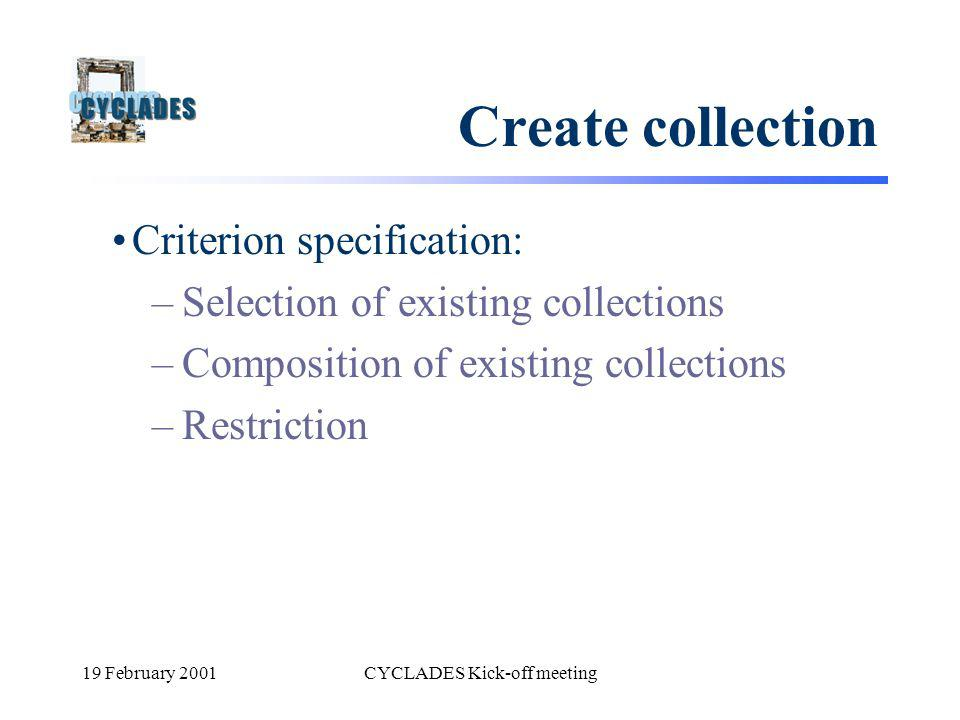 19 February 2001CYCLADES Kick-off meeting Create collection Criterion specification: –Selection of existing collections –Composition of existing colle