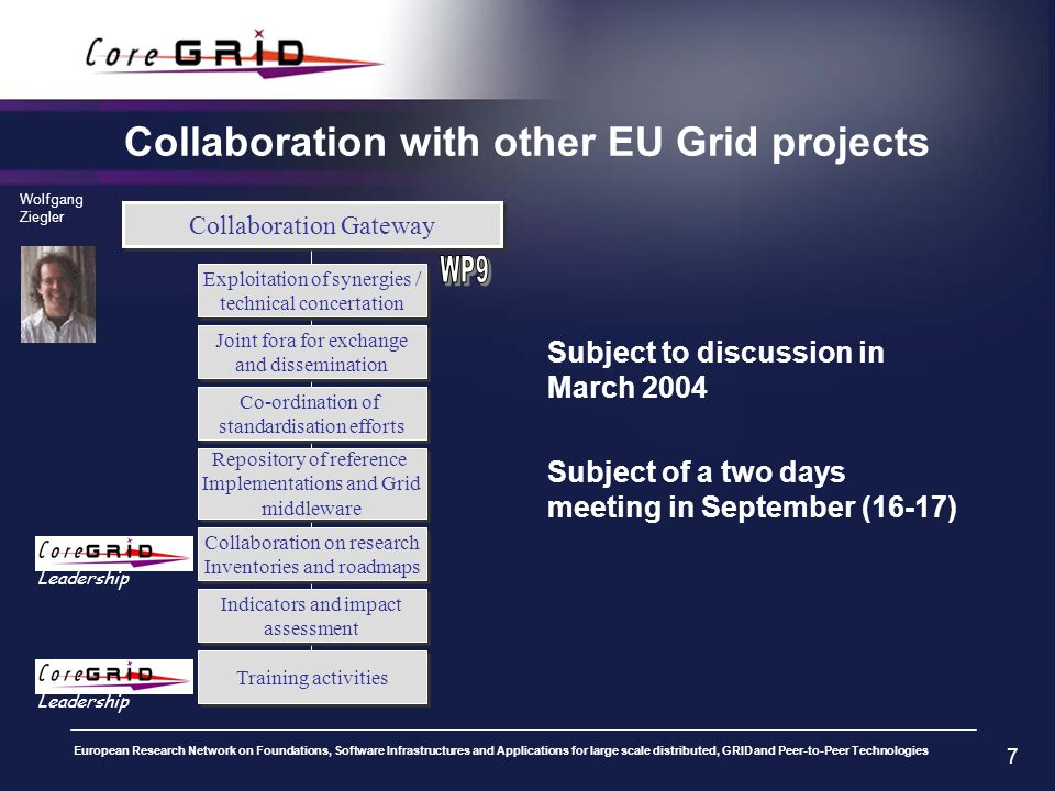 European Research Network on Foundations, Software Infrastructures and Applications for large scale distributed, GRID and Peer-to-Peer Technologies 7 Collaboration with other EU Grid projects Subject to discussion in March 2004 Subject of a two days meeting in September (16-17) Collaboration Gateway Exploitation of synergies / technical concertation Exploitation of synergies / technical concertation Joint fora for exchange and dissemination Joint fora for exchange and dissemination Co-ordination of standardisation efforts Co-ordination of standardisation efforts Repository of reference Implementations and Grid middleware Repository of reference Implementations and Grid middleware Collaboration on research Inventories and roadmaps Collaboration on research Inventories and roadmaps Indicators and impact assessment Indicators and impact assessment Wolfgang Ziegler Training activities Leadership