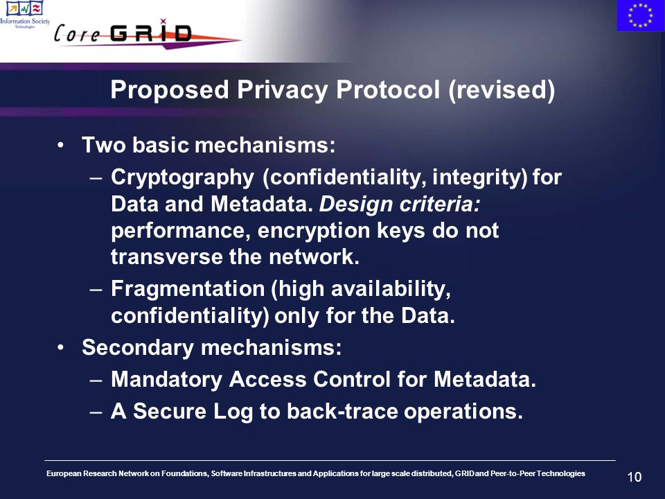 European Research Network on Foundations, Software Infrastructures and Applications for large scale distributed, GRID and Peer-to-Peer Technologies 10 Proposed Privacy Protocol (revised) Two basic mechanisms: –Cryptography (confidentiality, integrity) for Data and Metadata.