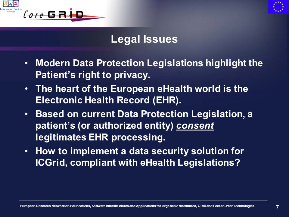 European Research Network on Foundations, Software Infrastructures and Applications for large scale distributed, GRID and Peer-to-Peer Technologies 7 Legal Issues Modern Data Protection Legislations highlight the Patients right to privacy.