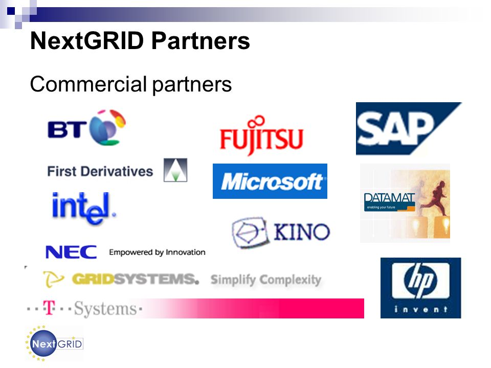 The NextGRID Process Application needs Existing Business Models Existing standards Expertise Experience with Grid in production Architecture Grid Business Models Reference Implementations Applications Standards Feedback for next iteration Analysis Conceptualisation Implementation Design Evaluation