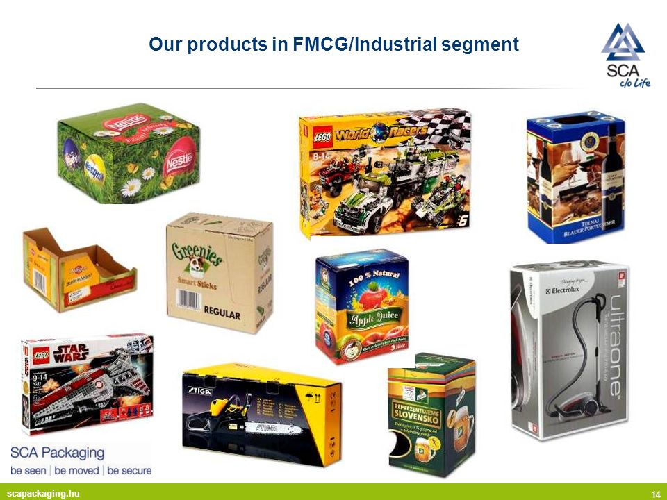 scapackaging.hu 14 Our products in FMCG/Industrial segment